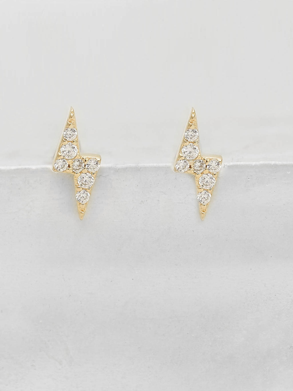Tiny Lightning Bolt design with White Round CZ Cubic Zirconia Stud Earrings by The Faint Hearted Jewelry