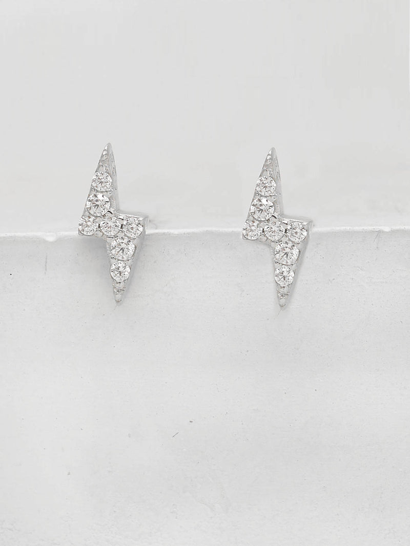 Silver Tiny Lightning Bolt design with White Round CZ Cubic Zirconia Stud Earrings by The Faint Hearted Jewelry