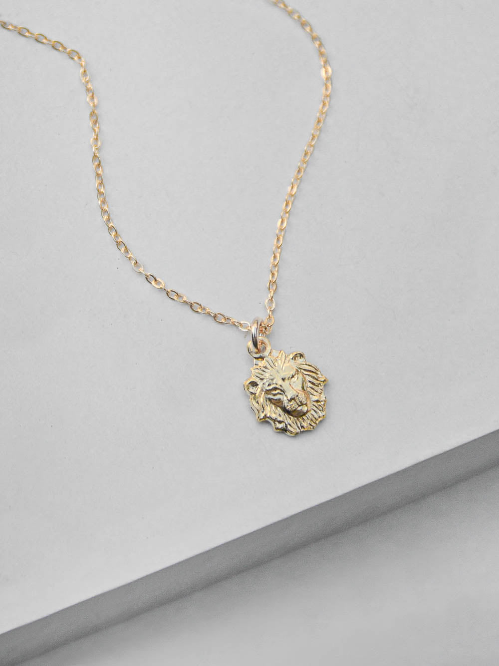 Gold Plated Lion Head Charm  Necklace by The Faint Hearted Jewelry