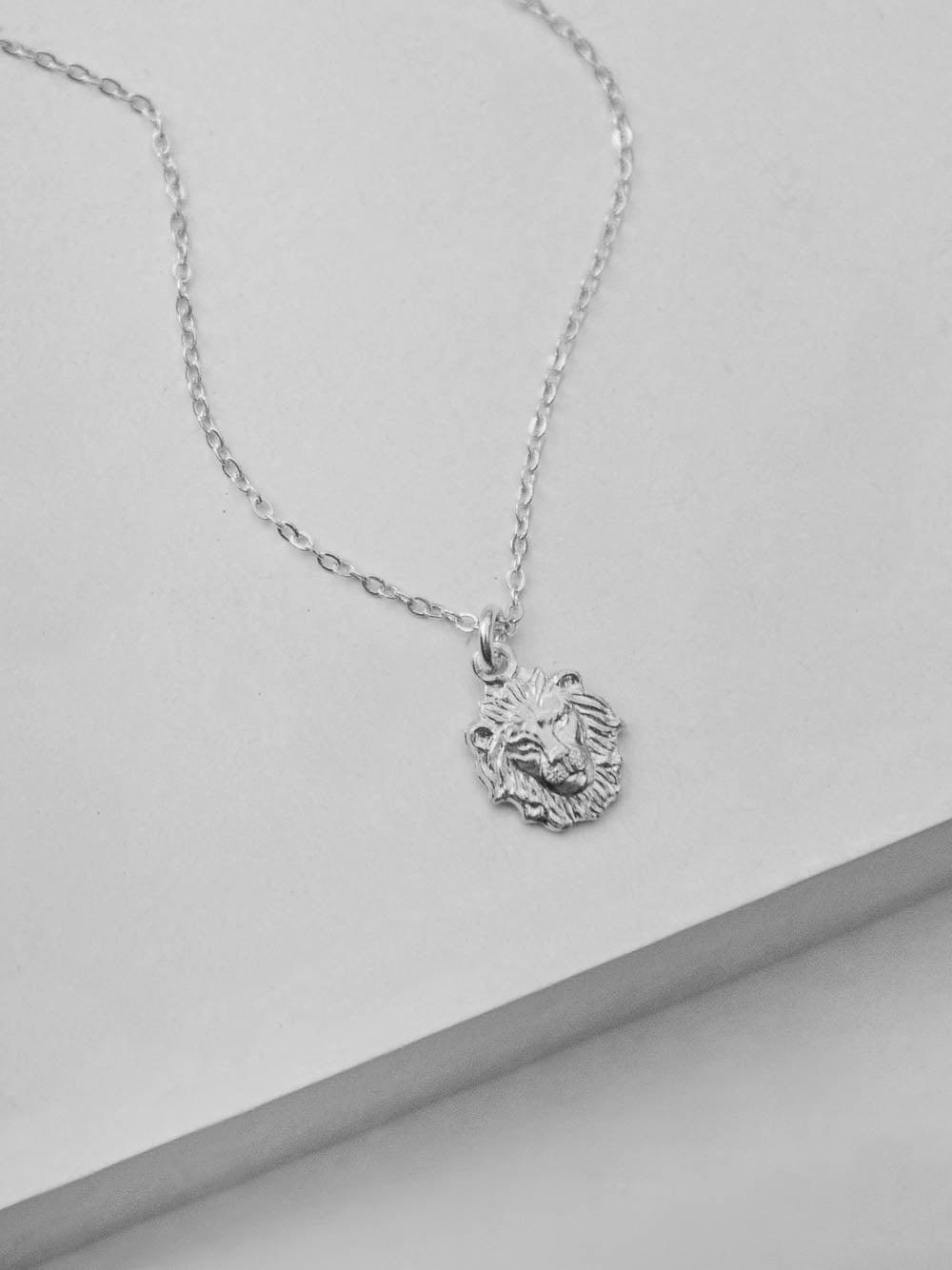 Silver  Lion Head Charm  Necklace by The Faint Hearted Jewelry
