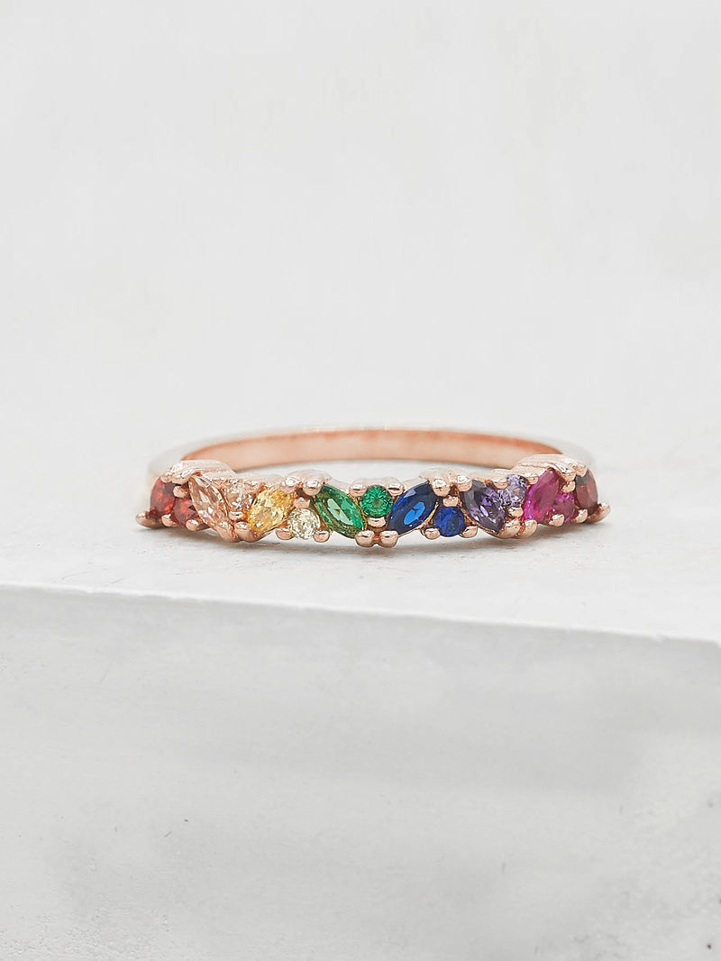 Marquise Eternity Ring - Rose Gold + Rainbow