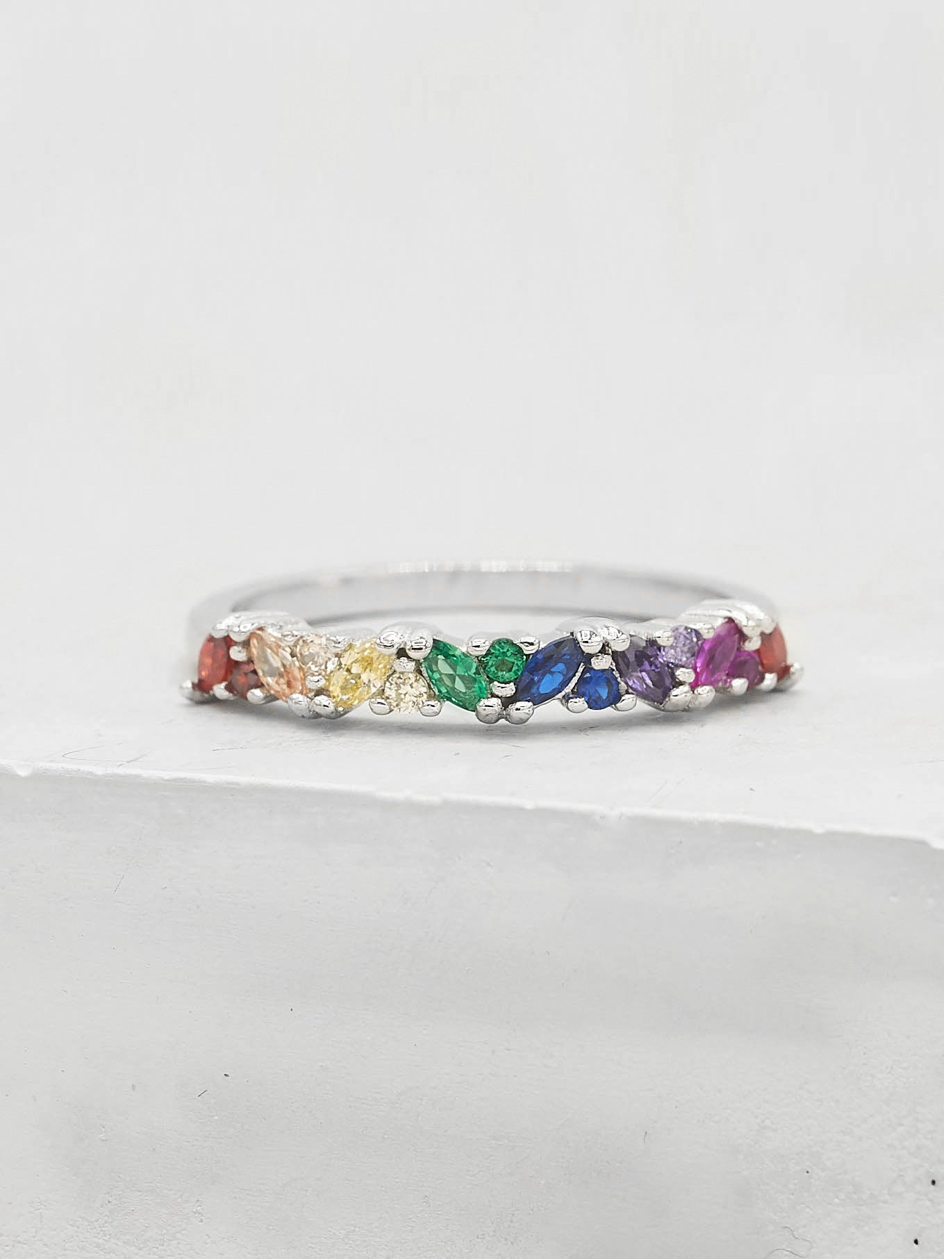 Marquise Eternity Ring - Silver + Rainbow