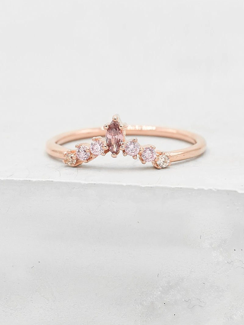 Marquise V Ring - Rose Gold + Pink