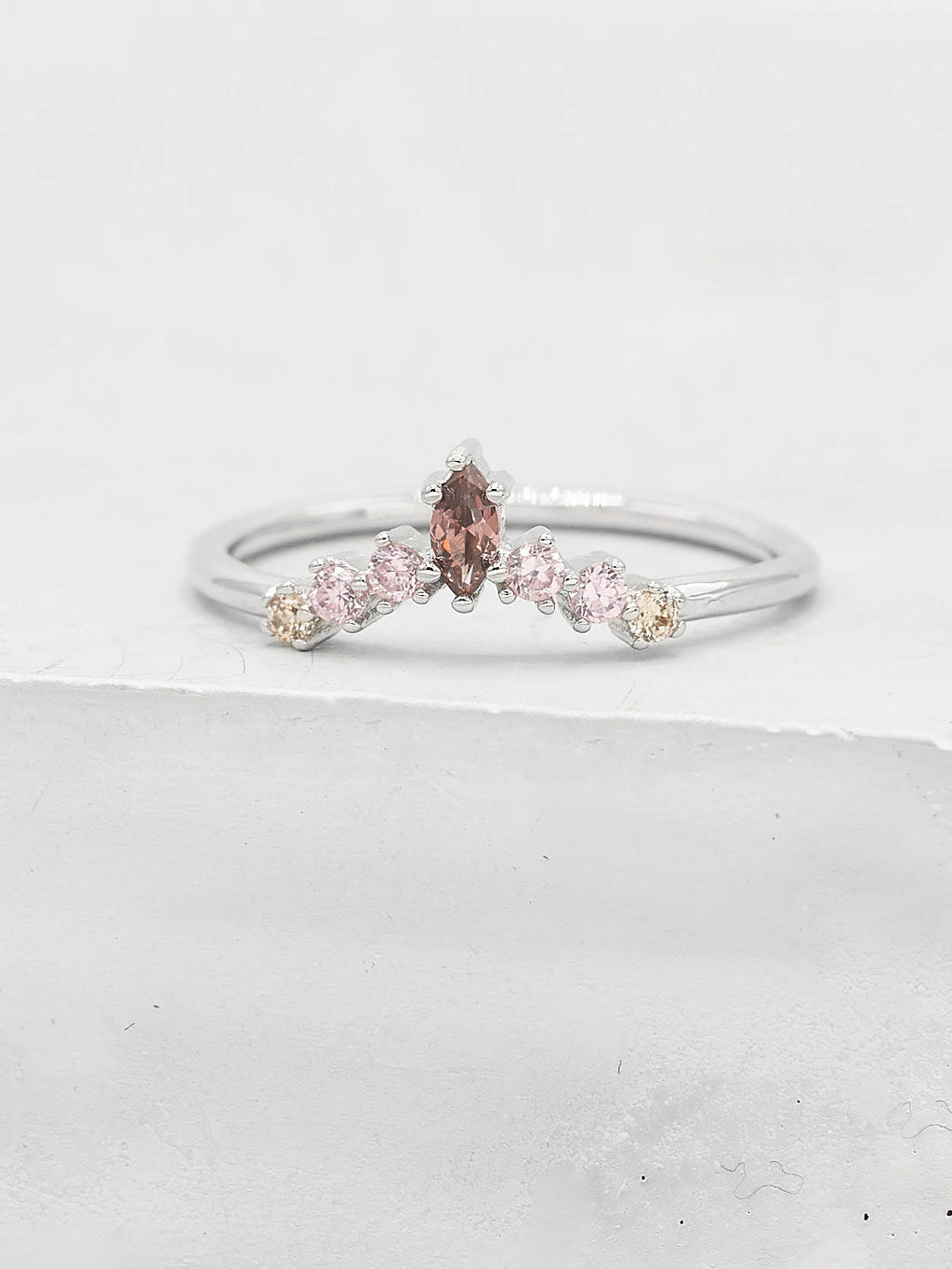 Marquise V Ring - Silver + Pink