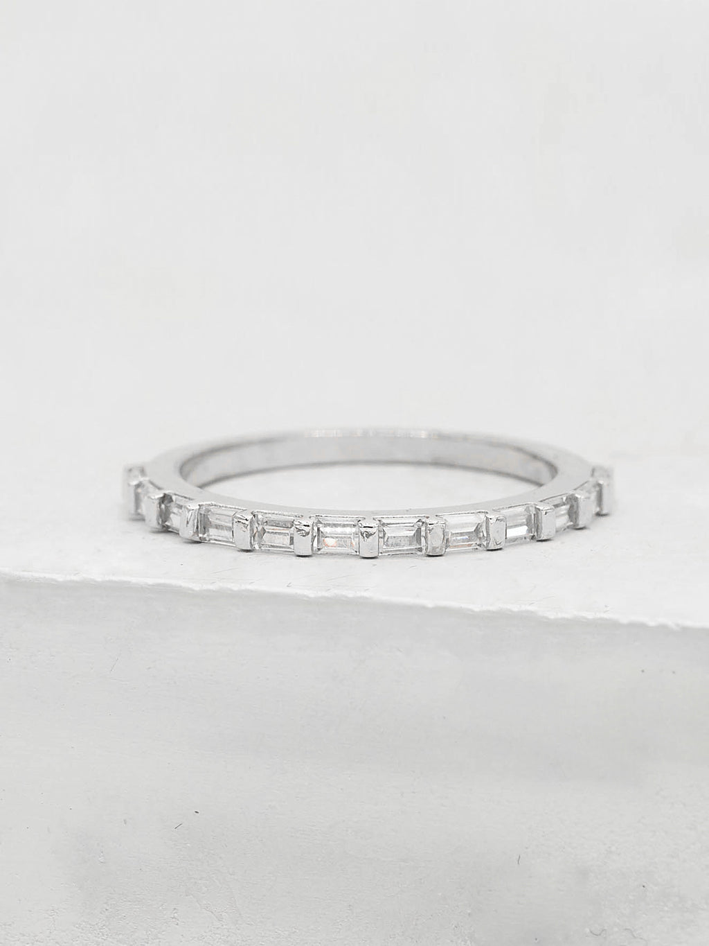 Mini Baguette Eternity Band - Silver