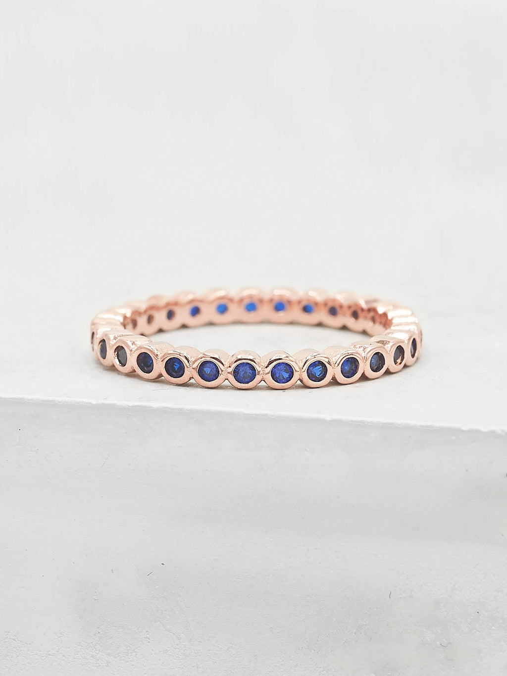Mini Bezel Eternity Ring - Rose Gold + Sapphire