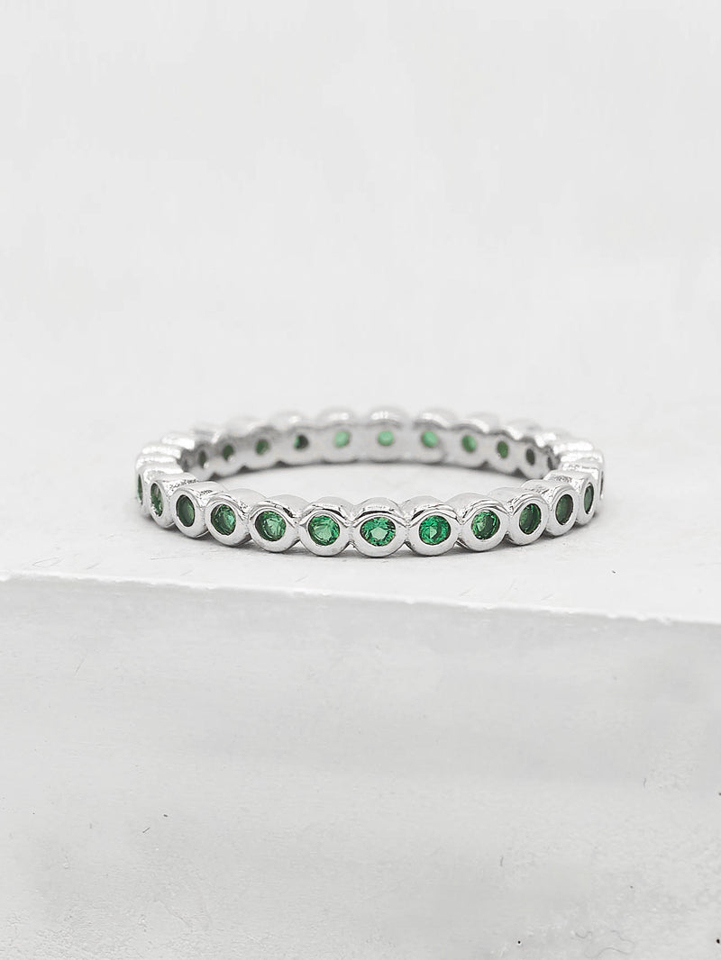 Mini Bezel Eternity Band - Silver + Emerald