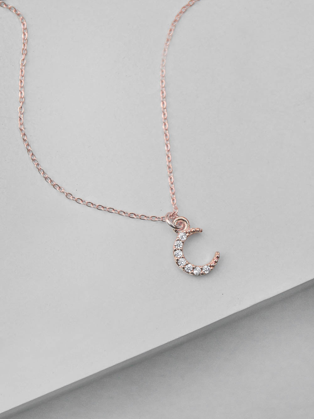 Mini Crescent CZ Charm Rose Gold  Necklace by The Faint Hearted Jewelry