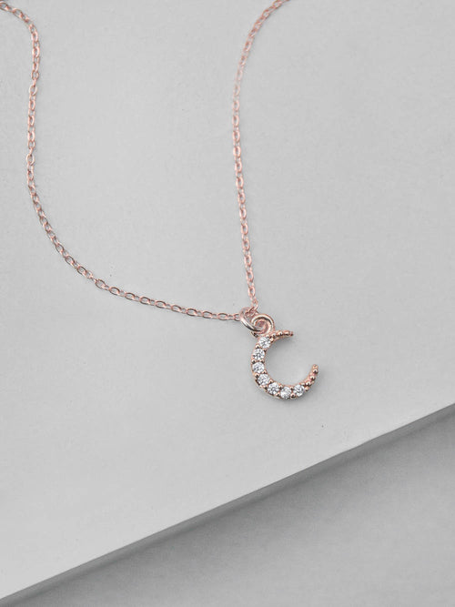 Mini Crescent Necklace - Rose Gold