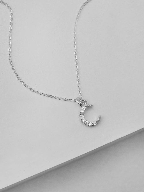 Mini Crescent Necklace - Silver