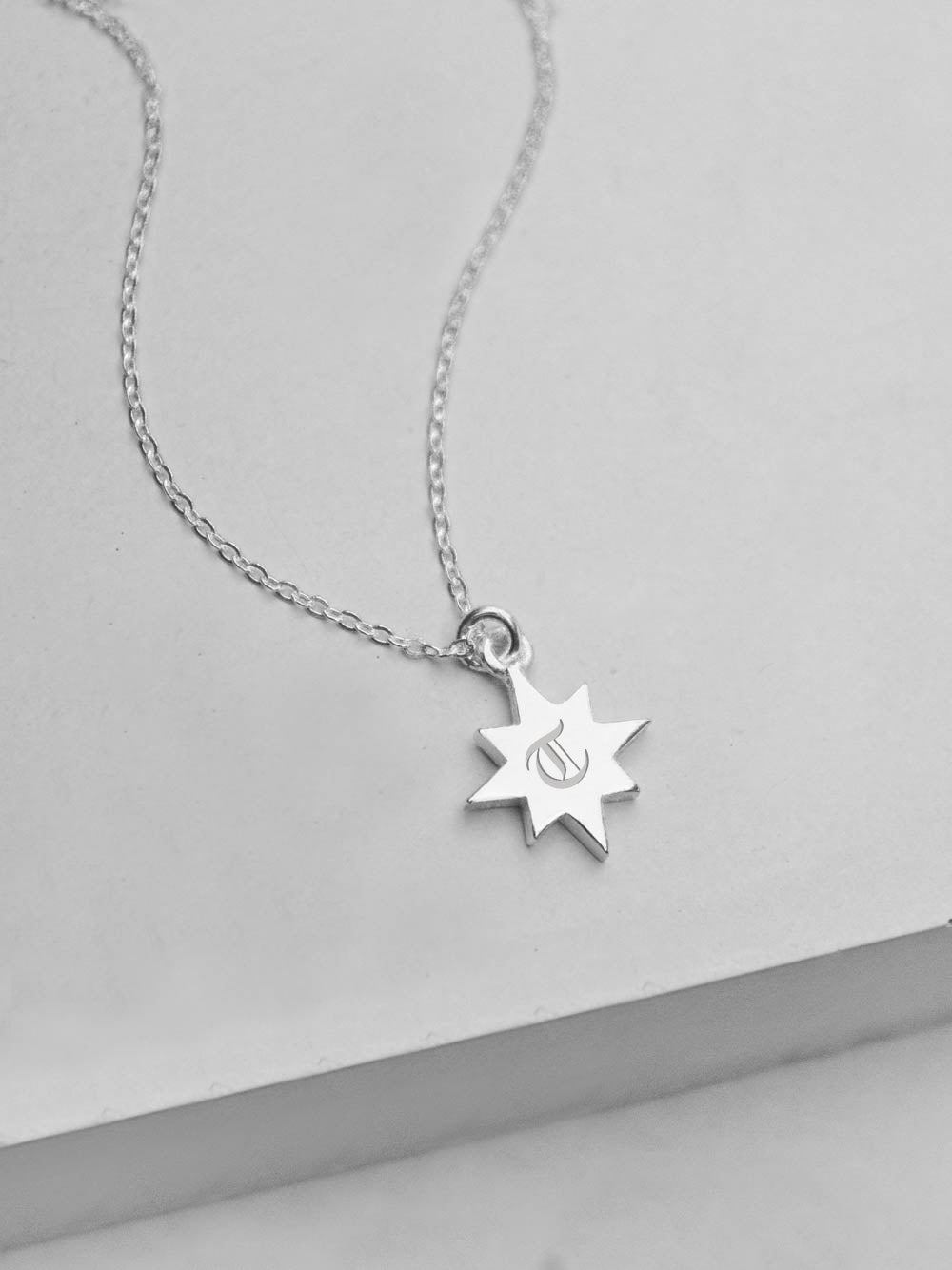 Star Initial Necklace - Silver