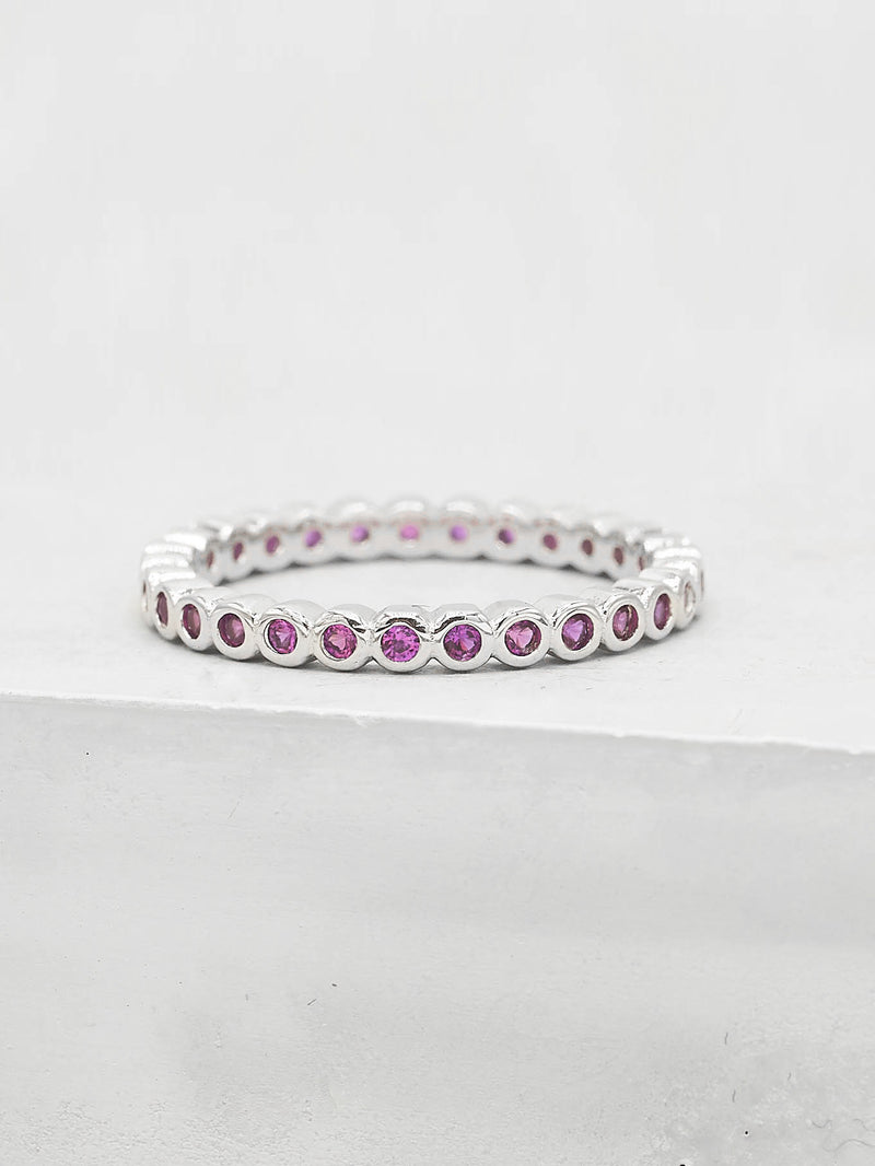 Mini Bezel Eternity Band - Ruby