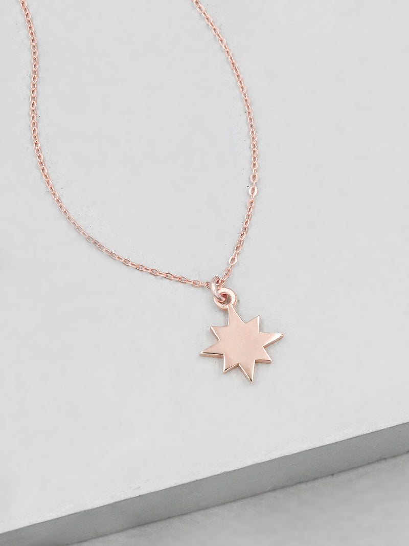 Star Initial Necklace - Rose Gold