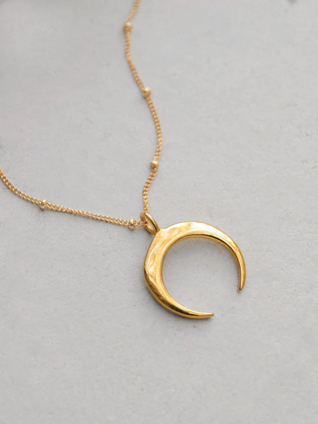 Large Moon Gold Necklace by The Faint Hearted Jewelry
