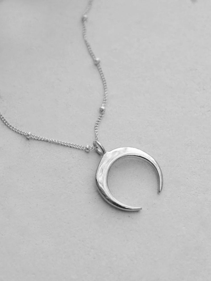 Large Moon Sterling Silver Necklace by The Faint Hearted Jewelry