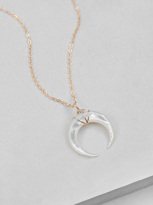 Mother of Pearl Moon Necklace - Gold