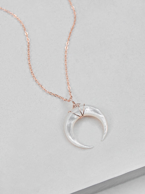 Mother of Pearl Moon Necklace - Rose Gold