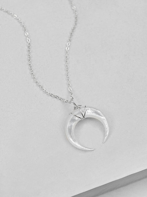 Mother of Pearl Moon Necklace - Silver