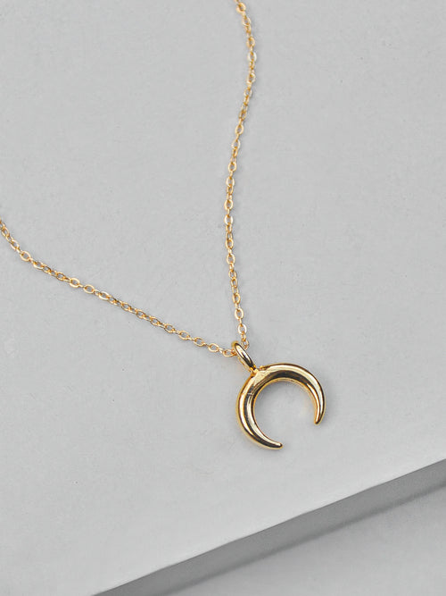 Small Moon Necklace - Gold