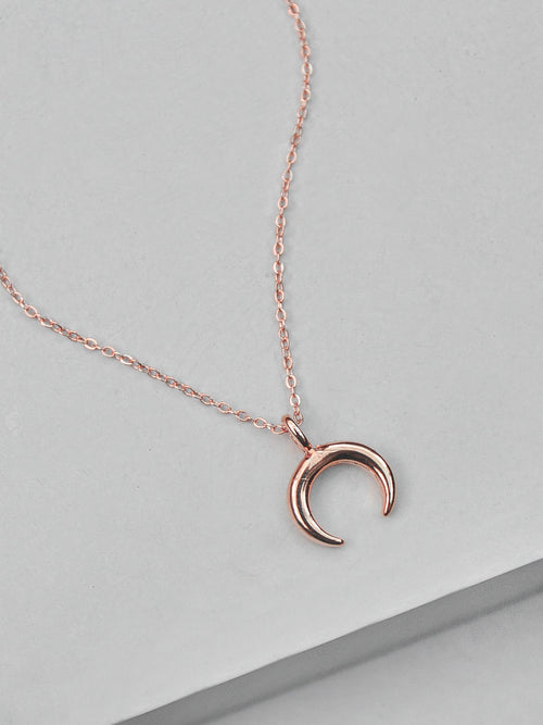 Small Moon Necklace - Rose Gold