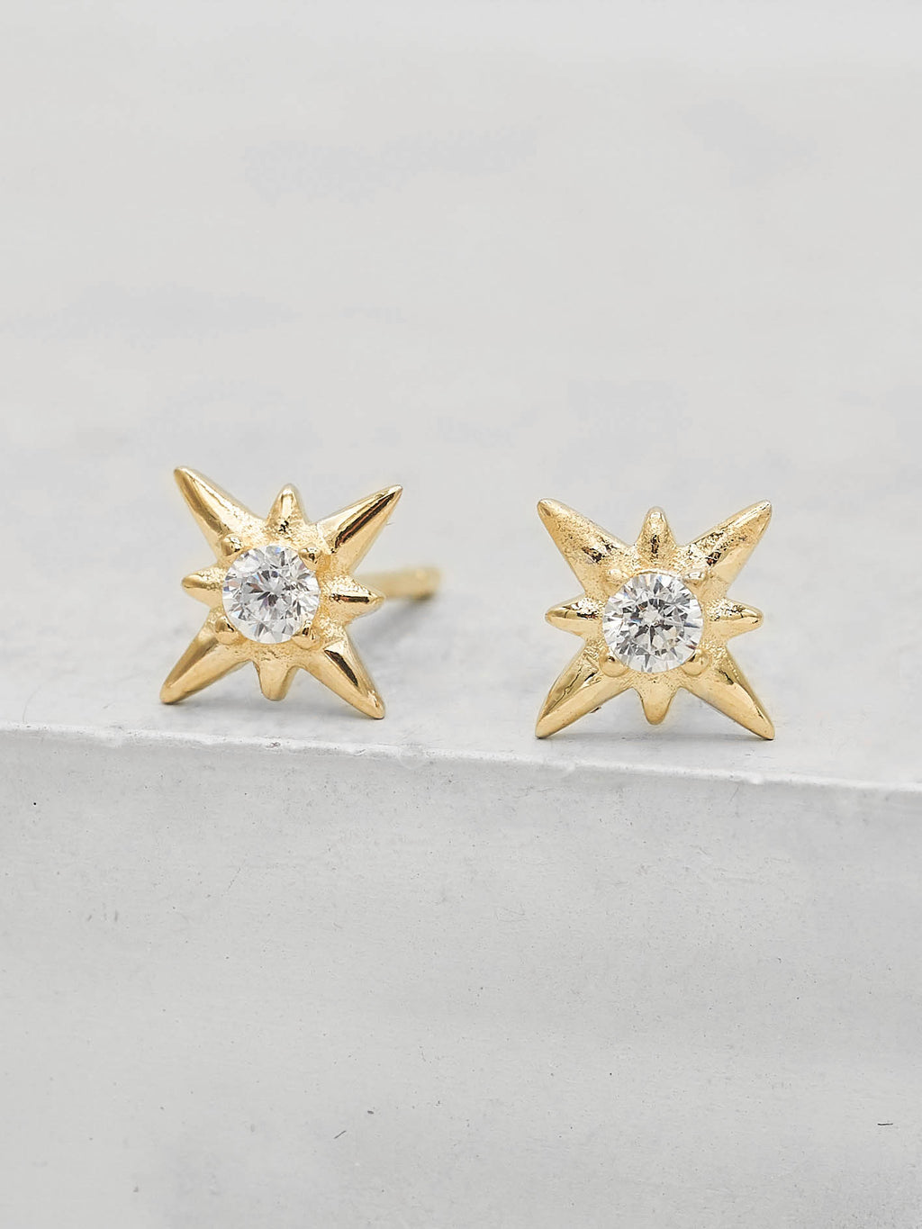 North Star Design Stud with Round White CZ Minimalist Style Dainty Stud Earrings by The Faint hearted jewelry