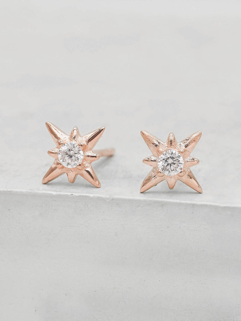 Rose Gold North Star Design Stud with Round White CZ Minimalist Style Dainty Stud Earrings by The Faint hearted jewelry