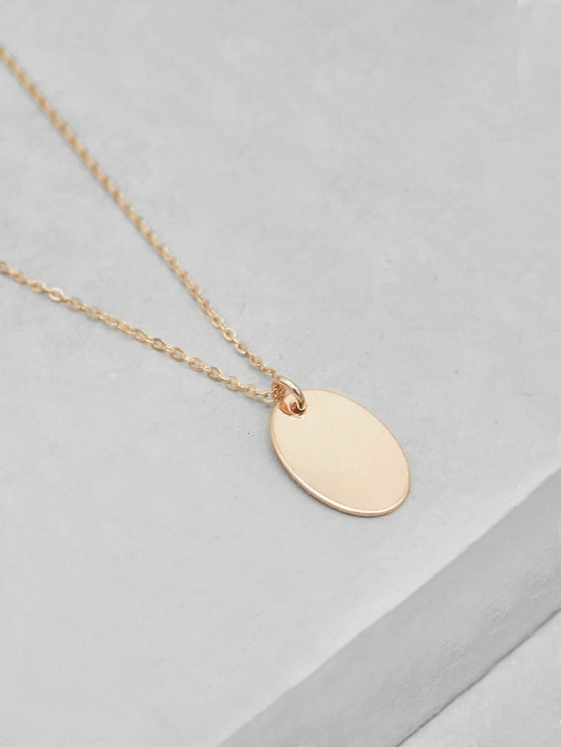 Plain Oval Coin Gold filled  Necklace by The Faint Hearted Jewelry