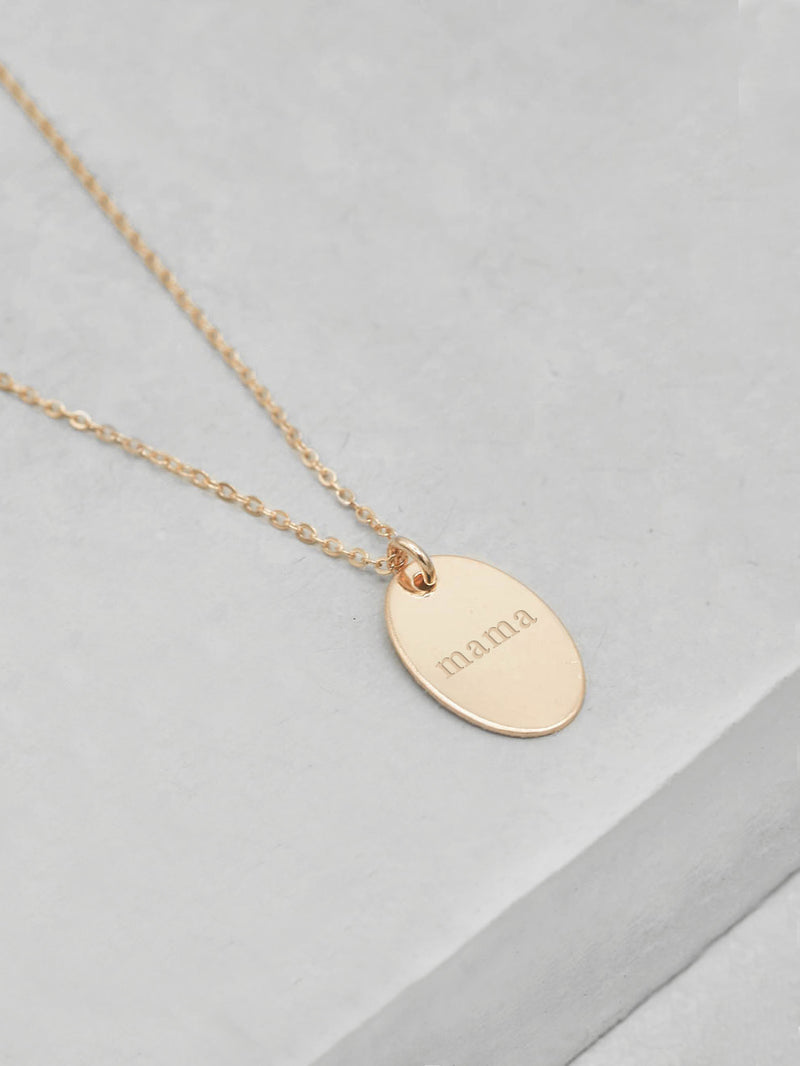 Gold Filled Oval Coin Name Necklace by The Faint Hearted Jewelry