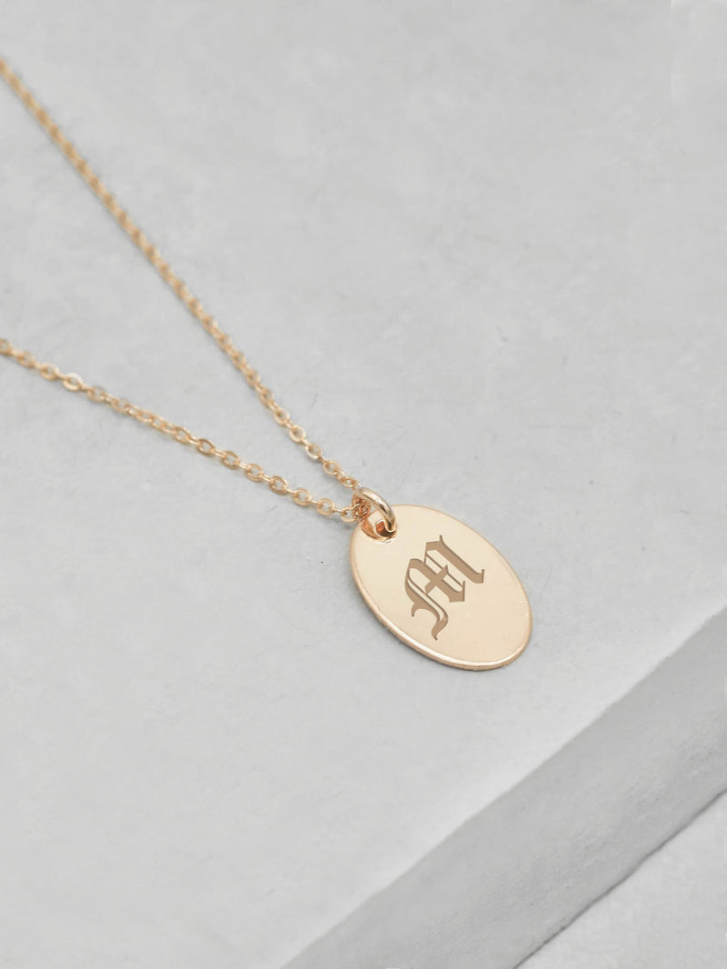 Engraved Oval Necklace - Gold