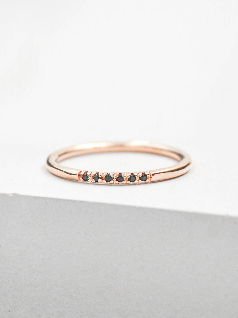 Petite Stacking Ring - Rose Gold + Black
