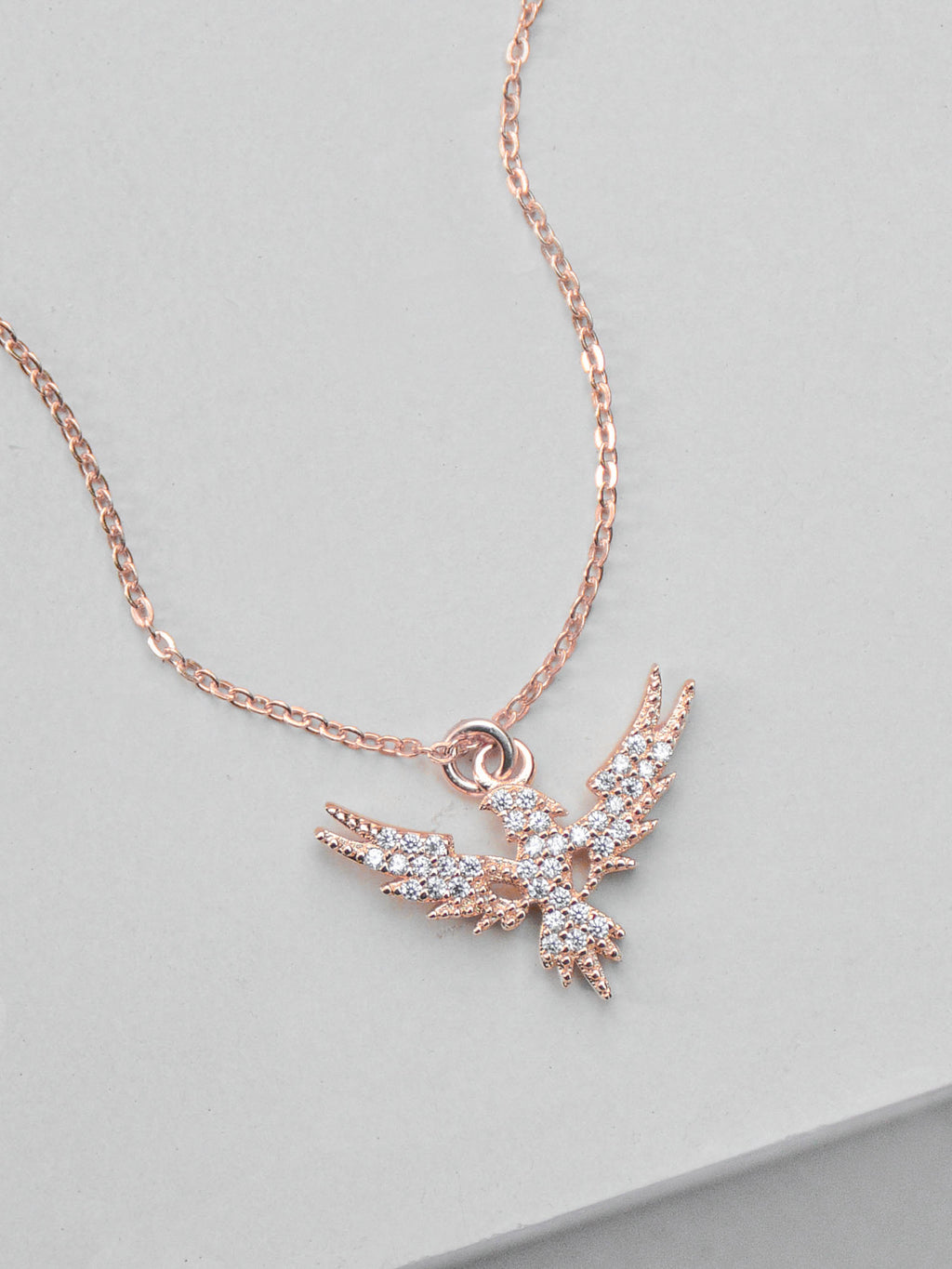Rose Gold Phoenix CZ Charm Necklace by The Faint Hearted Jewelry