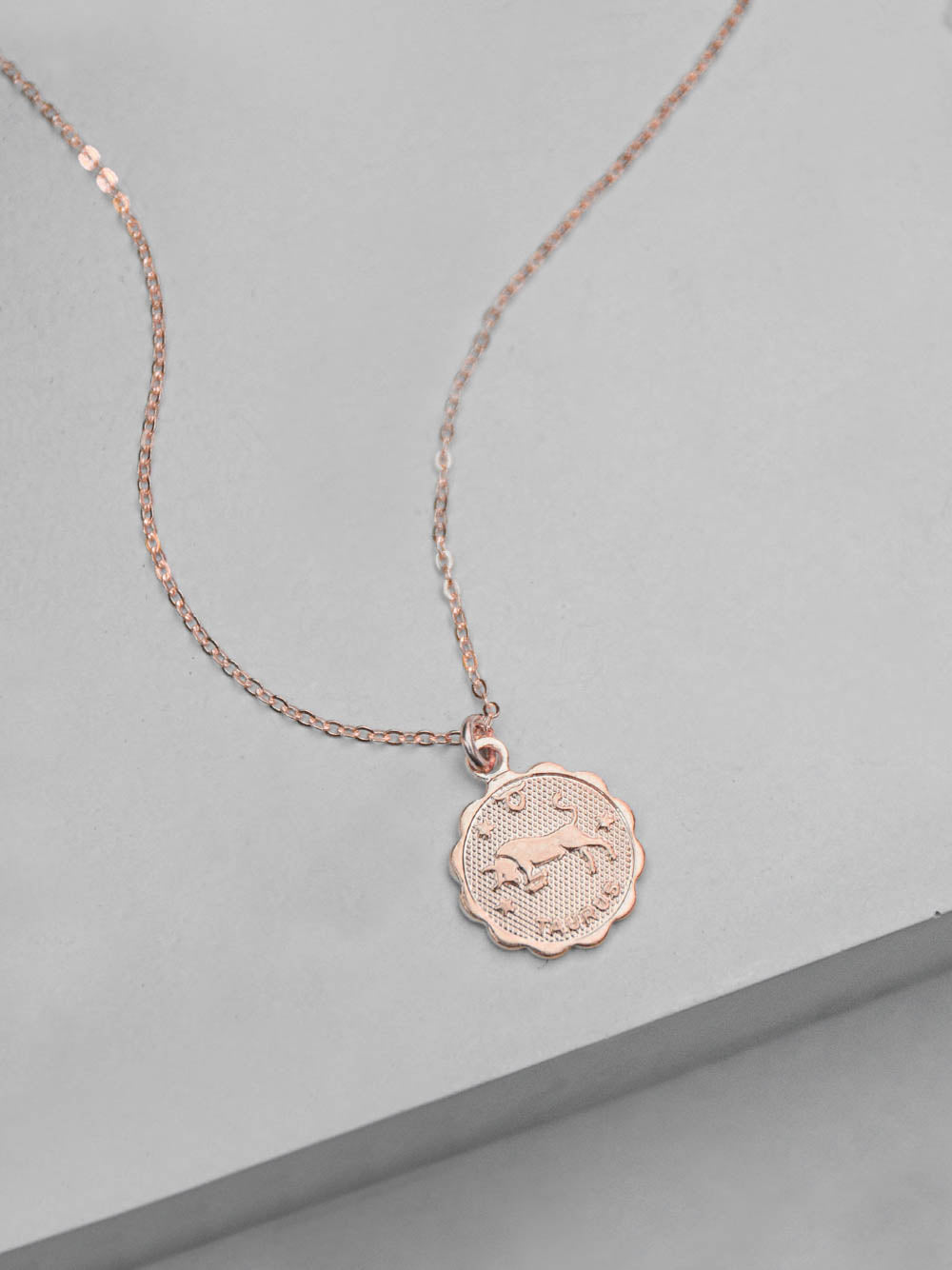 Rose Gold Zodiac Charm Necklace by The Faint Hearted Jewelry