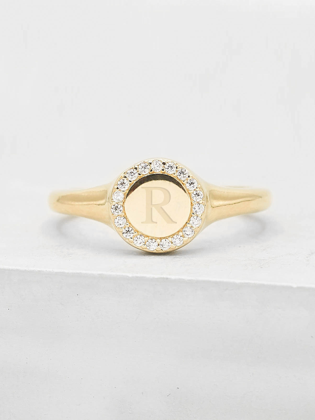 Sparkle Signet Ring - Rose Gold