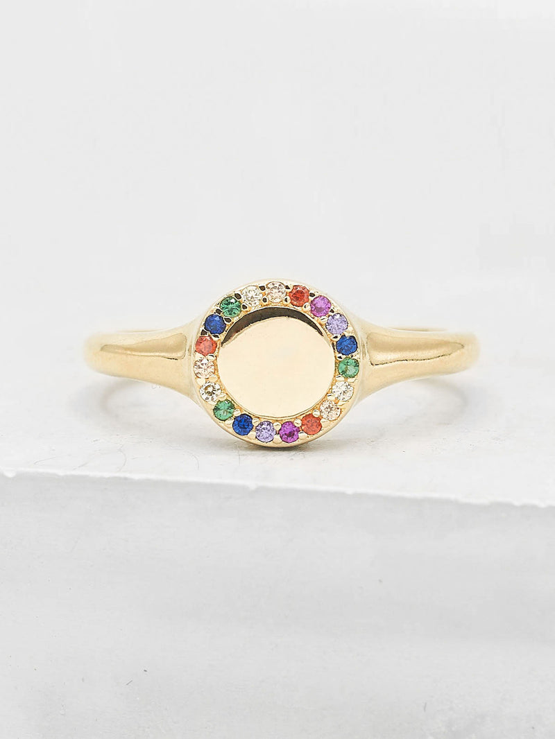 Sparkle Signet Ring - Gold + Rainbow