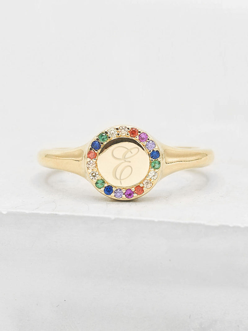 Sparkle Signet Ring - Rose Gold + Rainbow