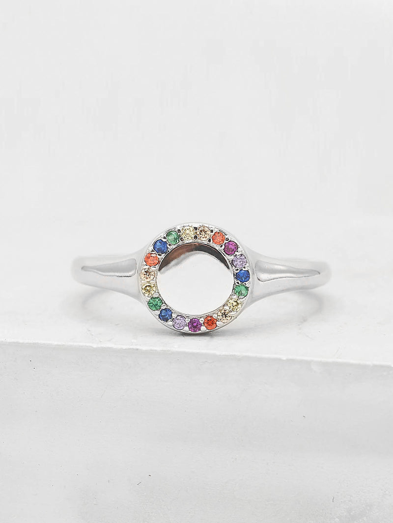 Sparkle Signet Ring - Silver + Rainbow
