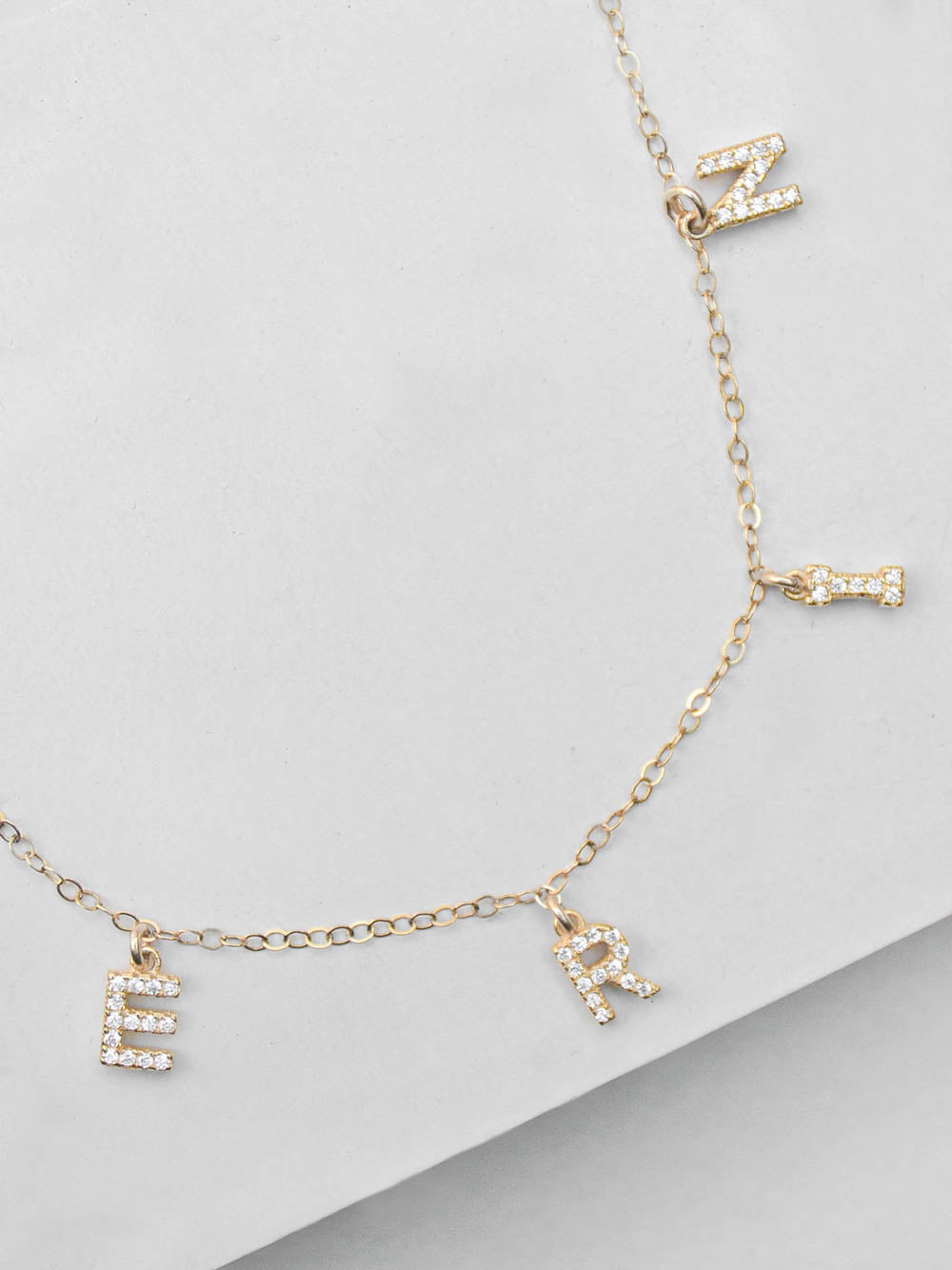 Gold CZ Initial Name Necklace by The Faint Hearted Jewelry