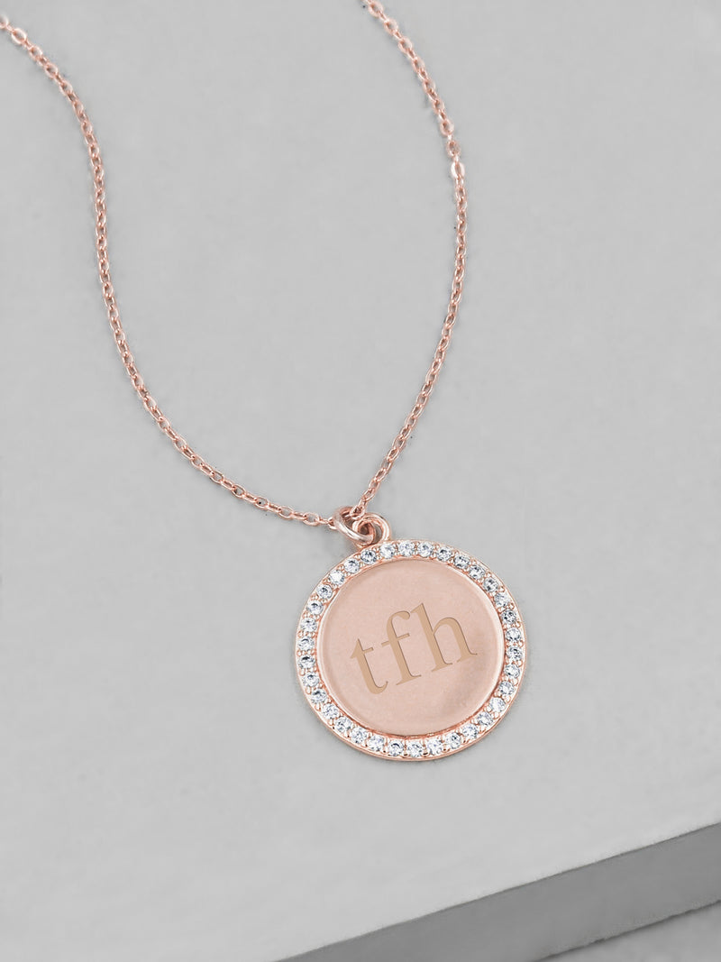 Sparkle Name Coin Necklace - Rose Gold