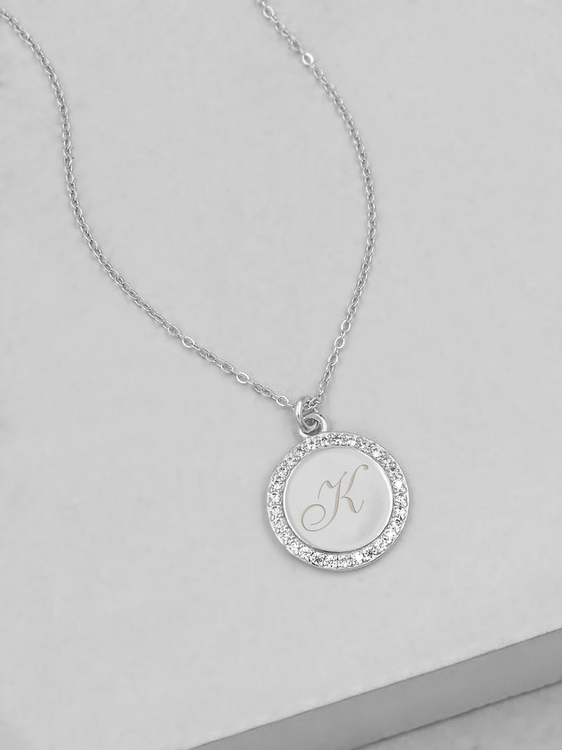Sparkle Name Coin Necklace - Silver
