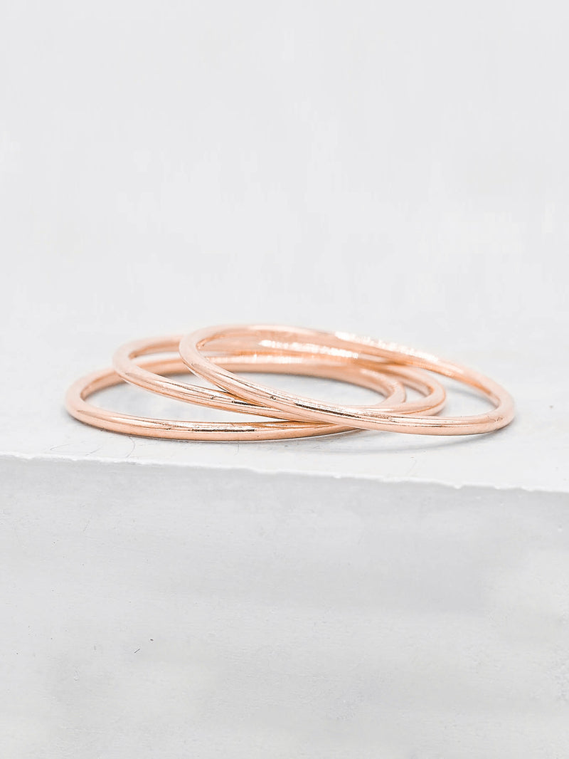 Set of 3 Thin Stacking Band Rose Gold Filled by The Faint Hearted Jewelry