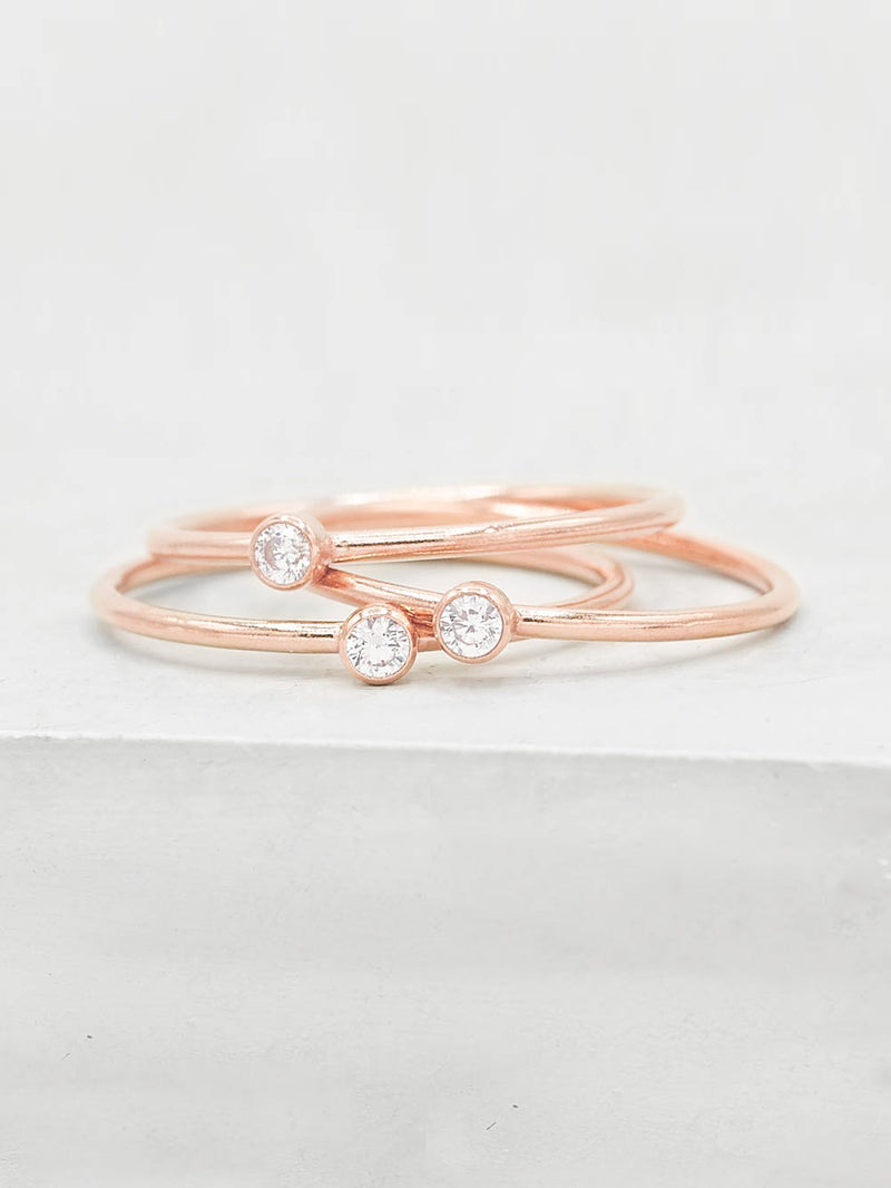 1mm CZ Stacker - Rose Gold Filled
