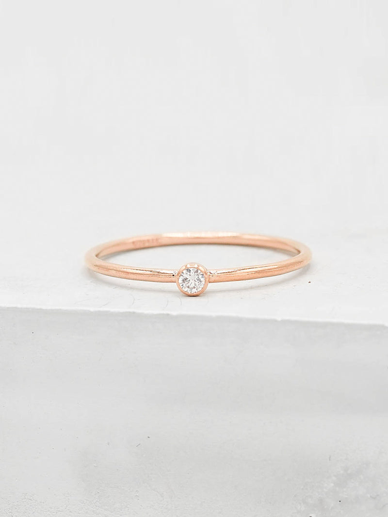 1mm CZ Stacker Rose Gold Filled Band by The Fain Hearted Jewelry