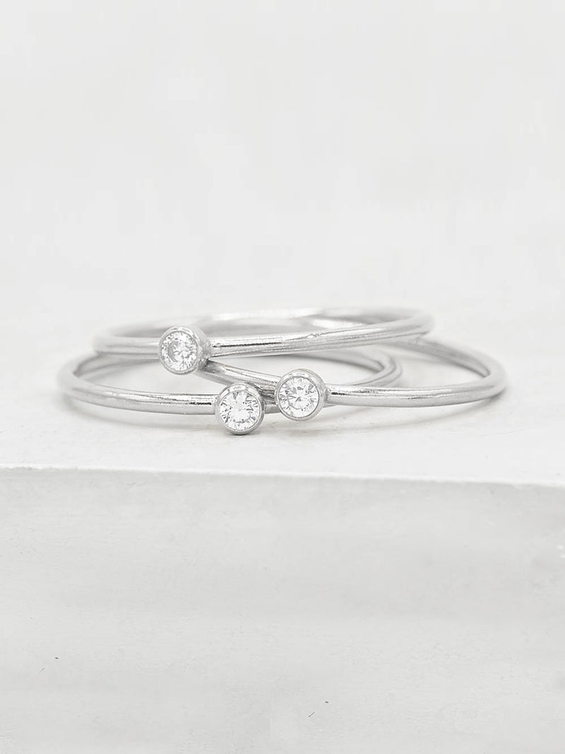 Sterling Silver CZ Stacker Band by The Faint Hearted Jewelry