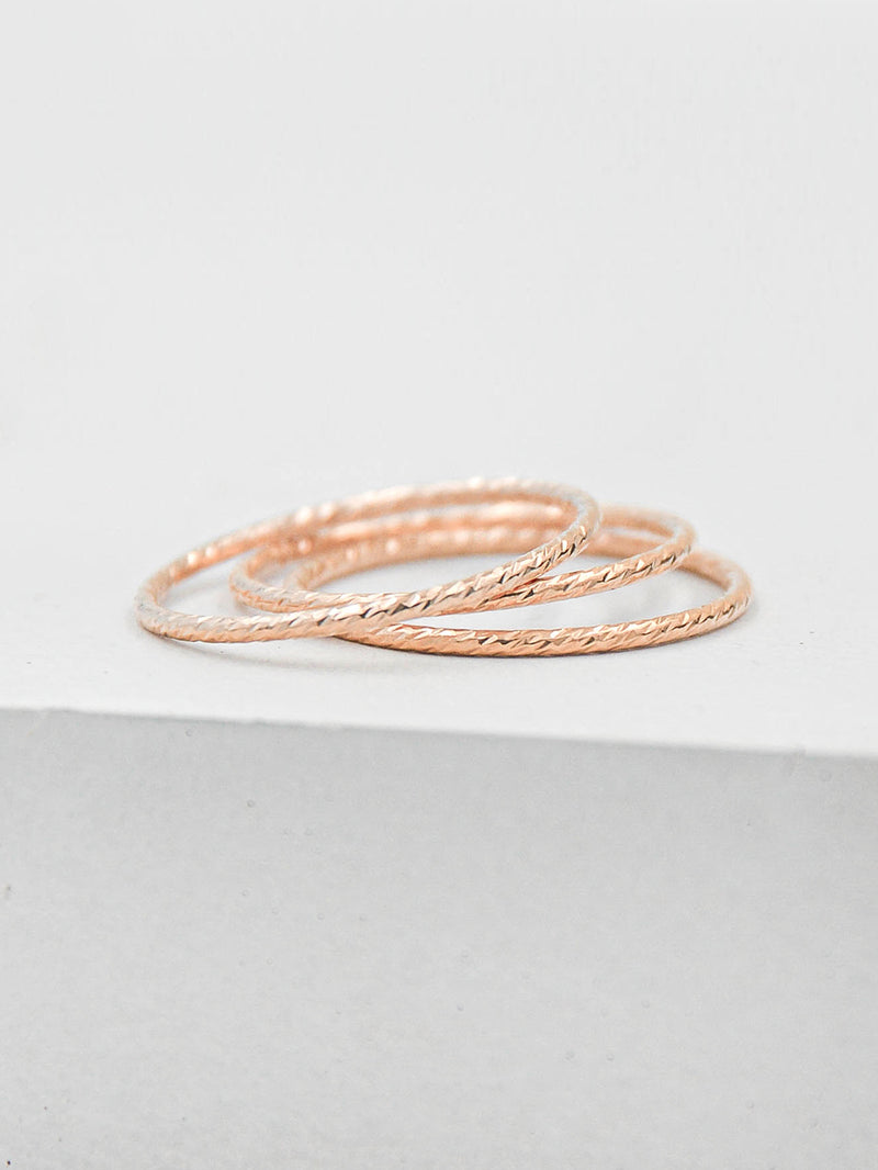 Set of 3 Thin Rose Gold Filled Ring by The Faint Hearted Jewelry