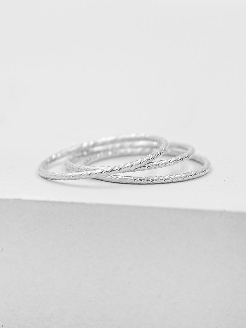 Set of 3 Thin Silver Band Ring by The Faint Hearted Jewelry