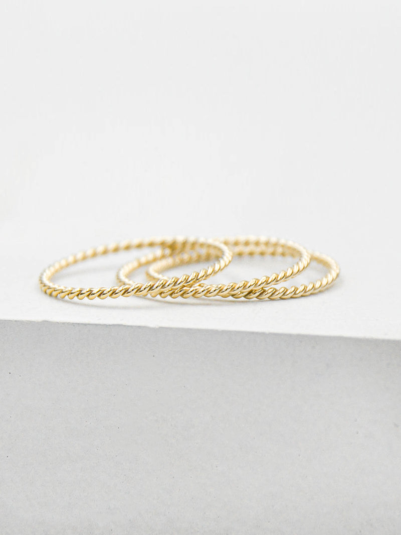 Set of 3 Twisted Gold Filled Dainty Ring by The Faint Hearted Jewelry