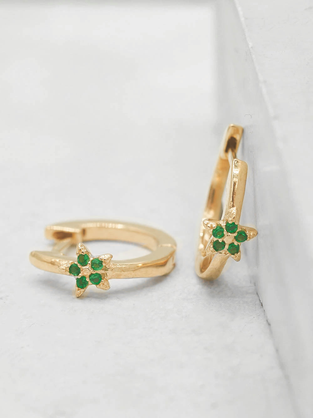 Gold Plated Brass Mini Star with Green Emerald  CZ Cubic Zirconia Hoop Huggies Dainty Earring by The Faint Hearted Jewelry