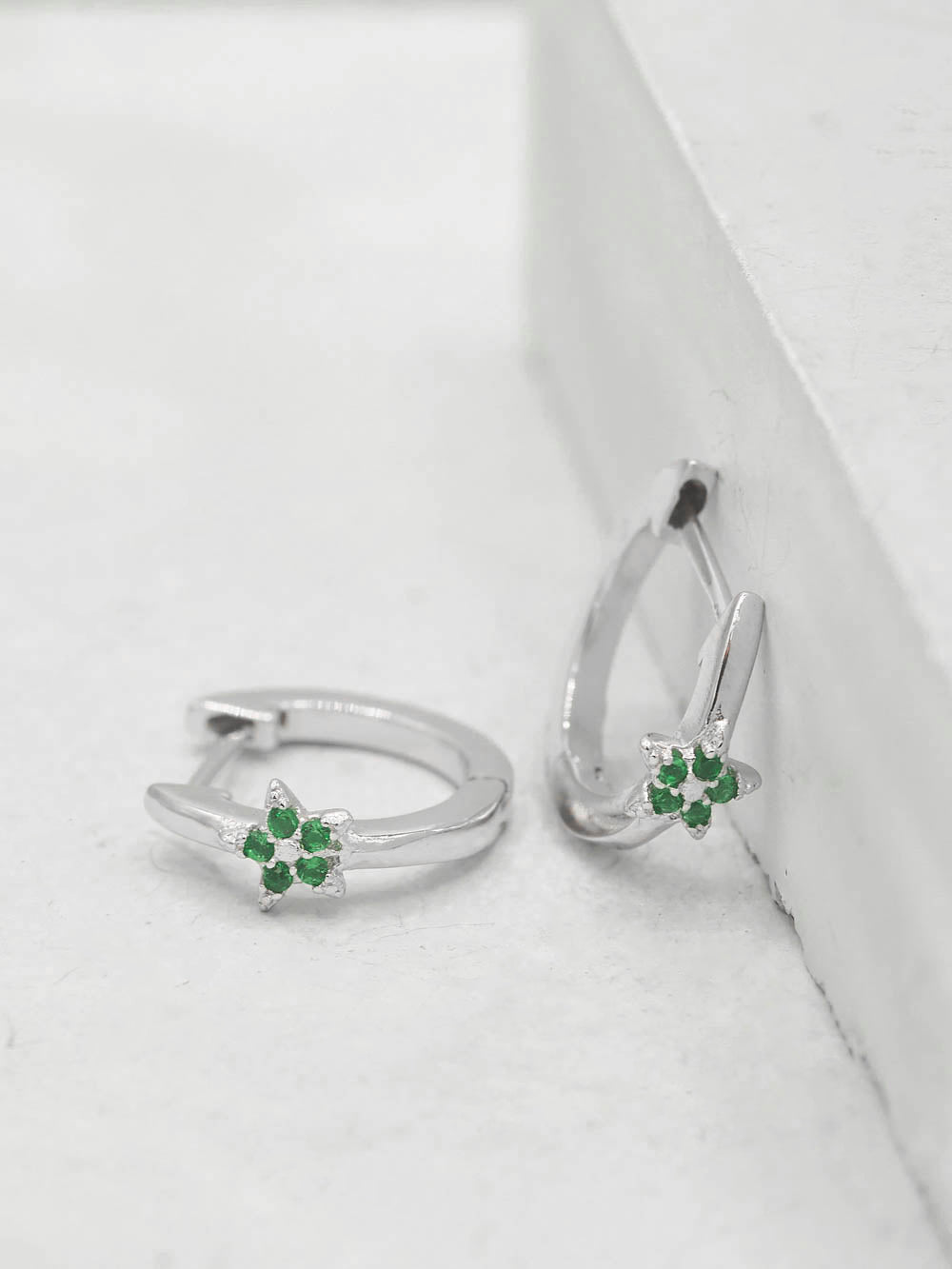 Rhodium  Plated Brass Mini Star with Green Emerald CZ Cubic Zirconia Hoop Huggies Dainty Earring by The Faint Hearted Jewelry