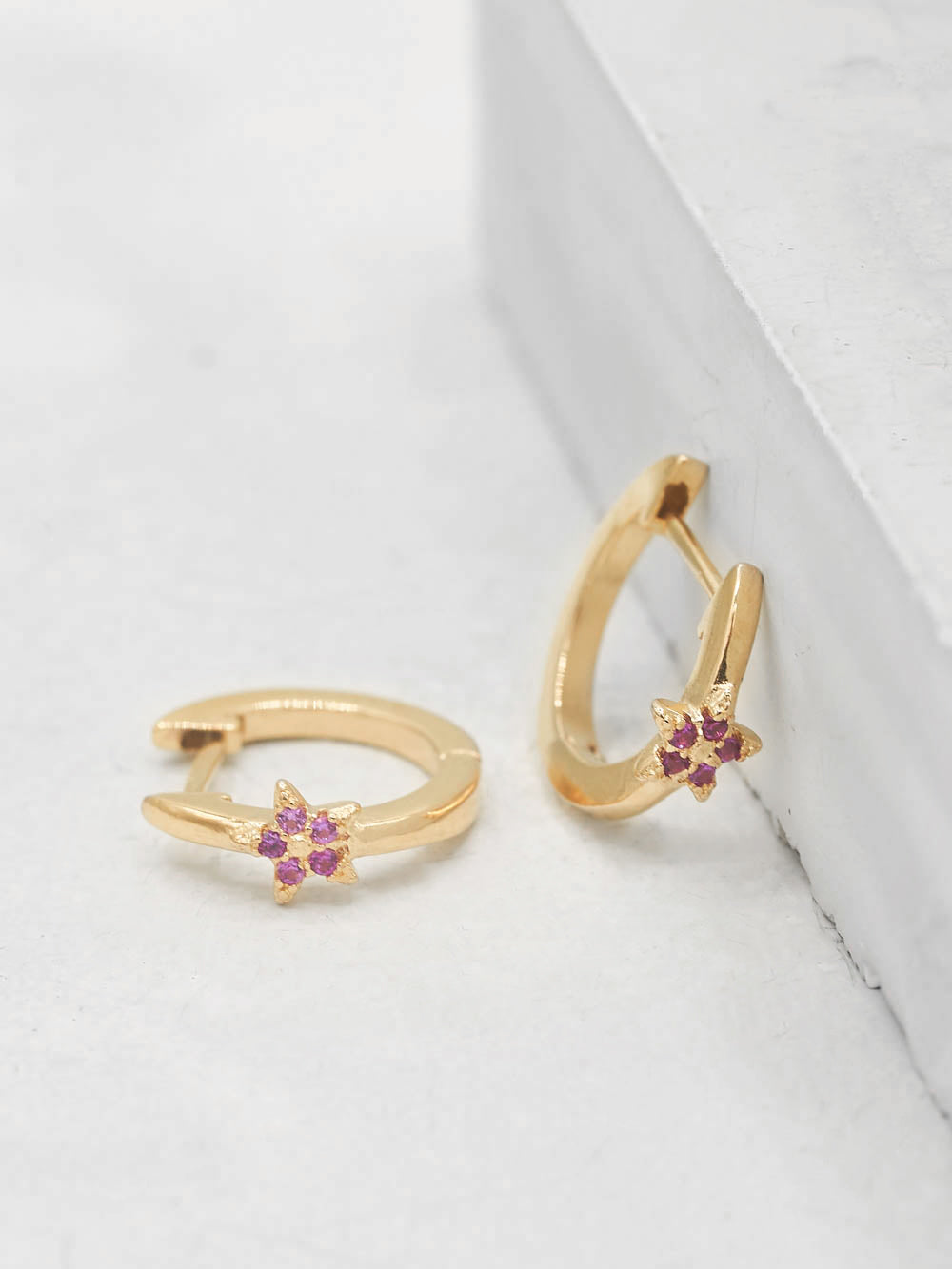 Gold Plated Brass Mini Star with Pink Ruby  CZ Cubic Zirconia Hoop Huggies Dainty Earring by The Faint Hearted Jewelry