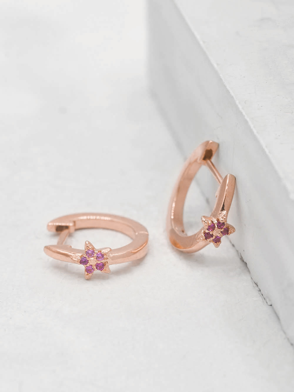Rose Gold Plated Brass Mini Star with Pink CZ Cubic Zirconia Hoop Huggies Dainty Earring by The Faint Hearted Jewelry